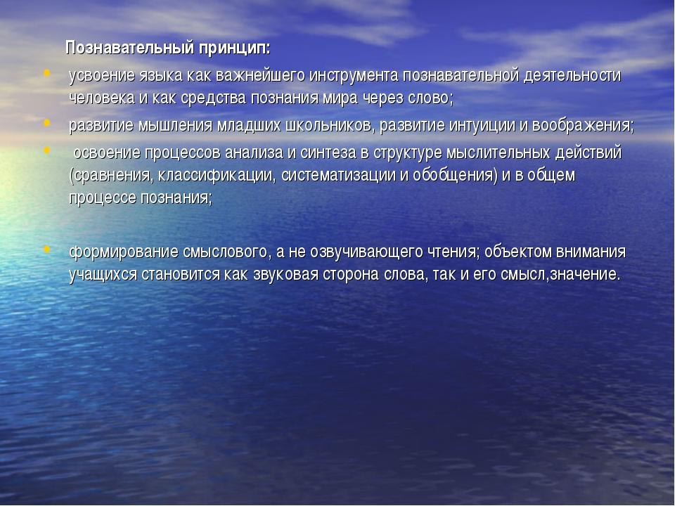 Познавательный принцип: усвоение языка как важнейшего инструмента познавател...