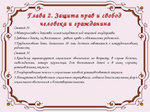 Глава 2. Защита прав и свобод человека и гражданина Статья 31 1.Материнство и