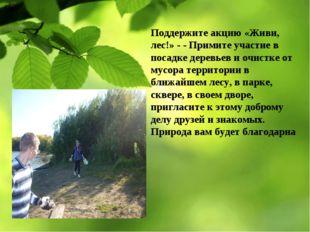 Поддержите акцию «Живи, лес!» - - Примите участие в посадке деревьев и очистк