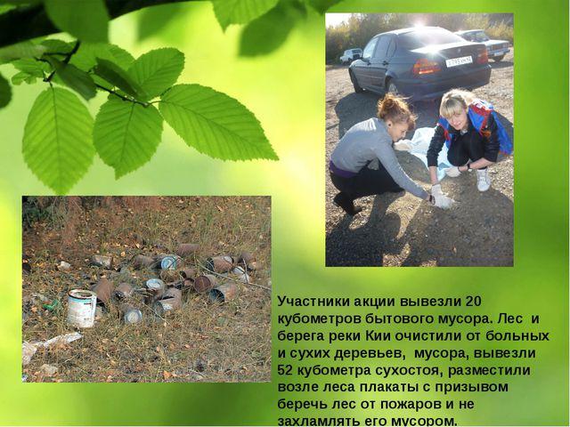 Участники акции вывезли 20 кубометров бытового мусора. Лес и берега реки Кии...