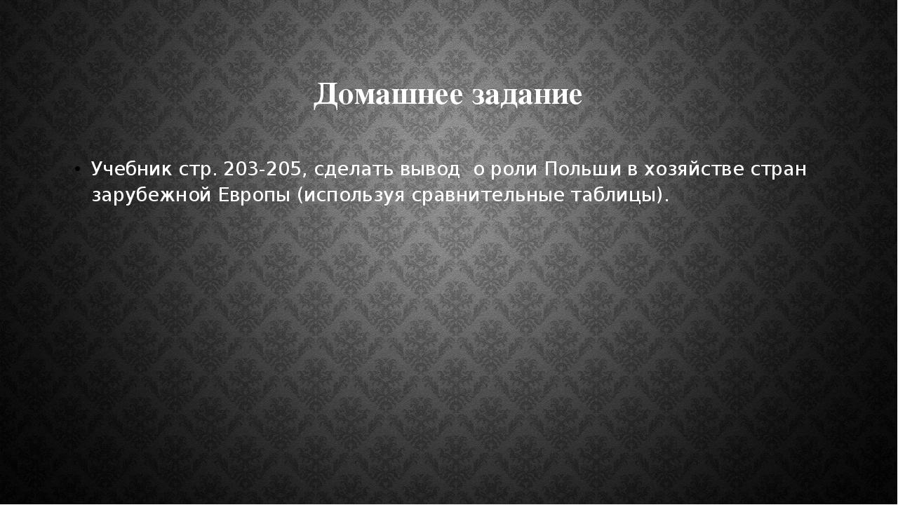Домашнее задание Учебник стр. 203-205, сделать вывод о роли Польши в хозяйств...