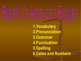 Vocabulary Pronunciation Grammar Punctuation Spelling Dates and Numbers
