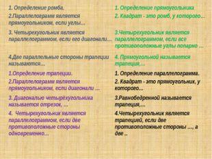 1. Определение ромба. 1. Определение прямоугольника 2.Параллелограмм являетс