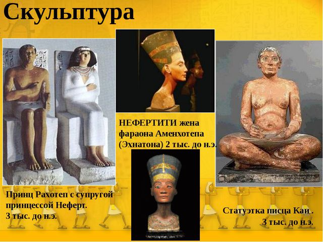 Скульптура Статуэтка писца Каи . 3 тыс. до н.э. Принц Рахотеп с супругой прин...