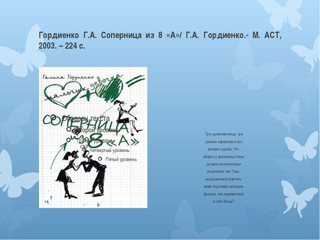 Гордиенко Г.А. Соперница из 8 «А»/ Г.А. Гордиенко.- М. АСТ, 2003. – 224 с. Тр...