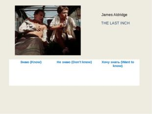 THE LAST INCH James Aldridge Знаю (Know) Не знаю (Don'tknow) Хочу знать(Want
