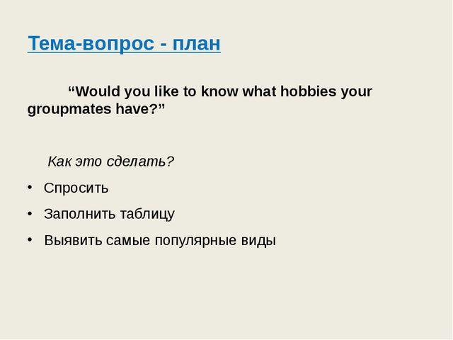 "Тема-вопрос - план ""Would you like to know what hobbies your groupmates have?..."