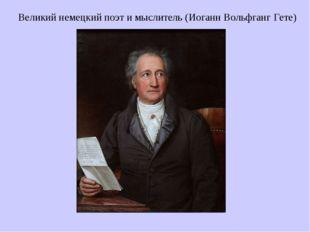 Великий немецкий поэт и мыслитель (Иоганн Вольфганг Гете)