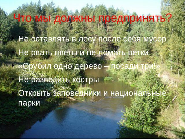 Что мы должны предпринять? Не оставлять в лесу после себя мусор Не рвать цвет...