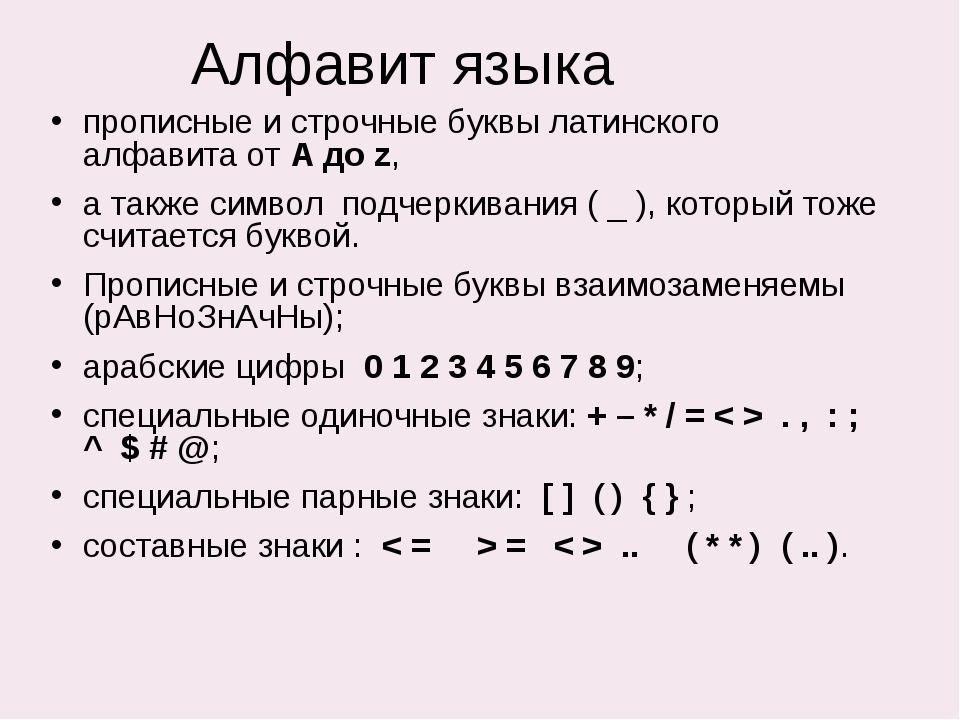 Алфавит языка прописные и строчные буквы латинского алфавита от A до z, а так...
