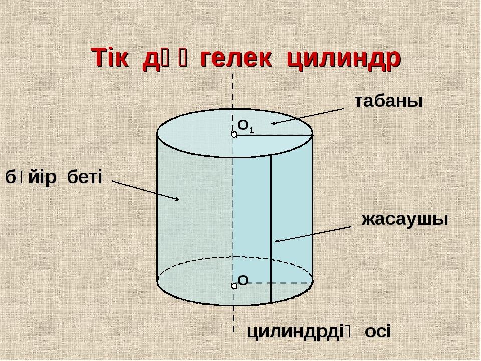 О О1 Тік дөңгелек цилиндр табаны жасаушы цилиндрдің осі бүйір беті