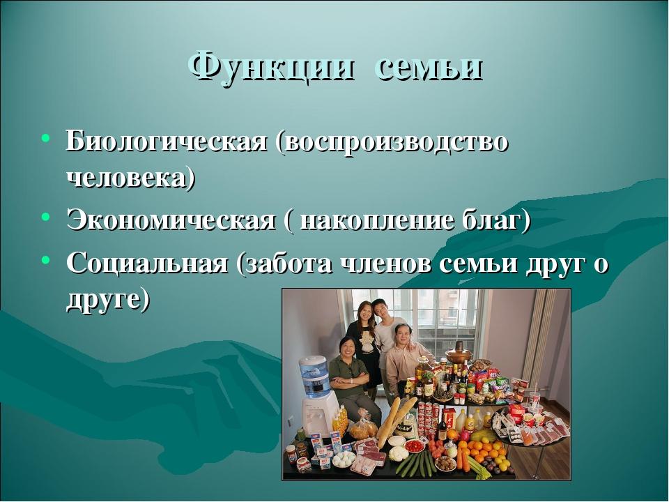 Функции семьи Биологическая (воспроизводство человека) Экономическая ( накопл...