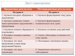 Лист самооценки Предметные результатыМетапредметные результаты На уроке яНа