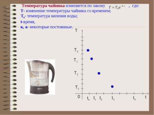 Температура чайника изменяется по закону , где: Т- изменение температуры чай