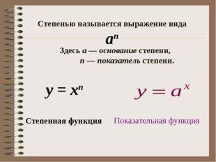 Степенная функция у = хп Степенью называется выражение вида Здесьа—основа