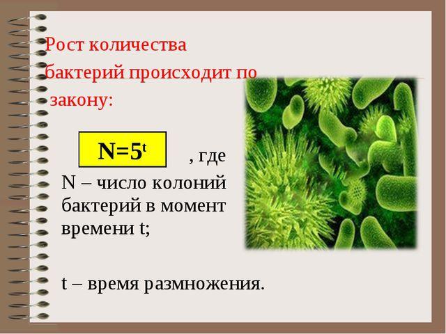 Рост количества бактерий происходит по закону: , где N – число колоний бакте...