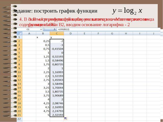 3. В мастере функций выбираем категорию «Математические», функция LOG 4. В ок...