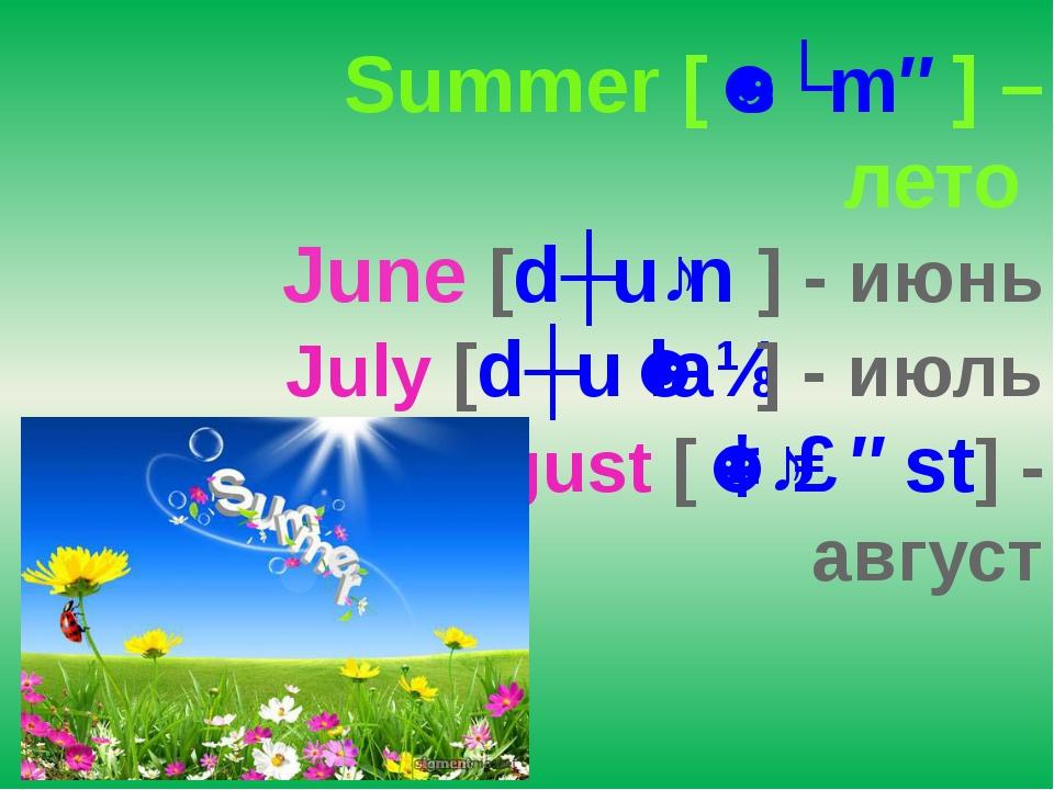 Summer [ˈsʌmə] – лето June [dʒuːn] - июнь July [dʒuˈlaɪ] - июль August [ˈɔːɡ...