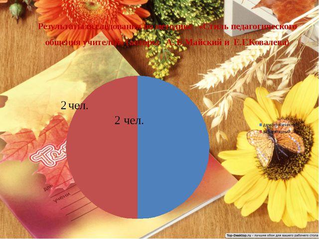 Результаты исследования по методике «Стиль педагогического общения учителей»...