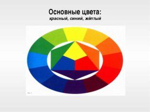 Основные цвета: красный, синий, жёлтый