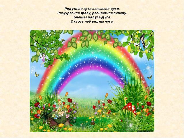 Радужная арка запылала ярко, Разукрасила траву, расцветила синеву. Блещет рад...
