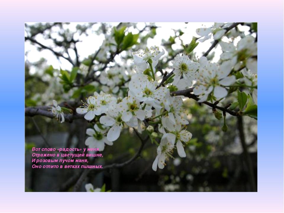Вот слово «радость» у меня Отражено в цветущей вишне, И розовым лучом маня, О...