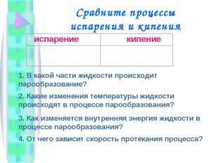 Сравните процессы испарения и кипения 1. В какой части жидкости происходит па