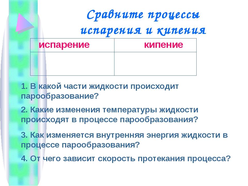 Сравните процессы испарения и кипения 1. В какой части жидкости происходит па...