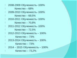 2008-2009 Обученность -100% Качество – 68% 2009-2010 Обученность -100% Качест