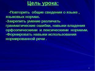 Цель урока: -Повторить общие сведения о языке , языковых нормах. -Закрепить
