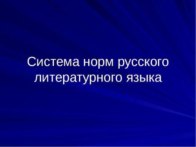 Система норм русского литературного языка