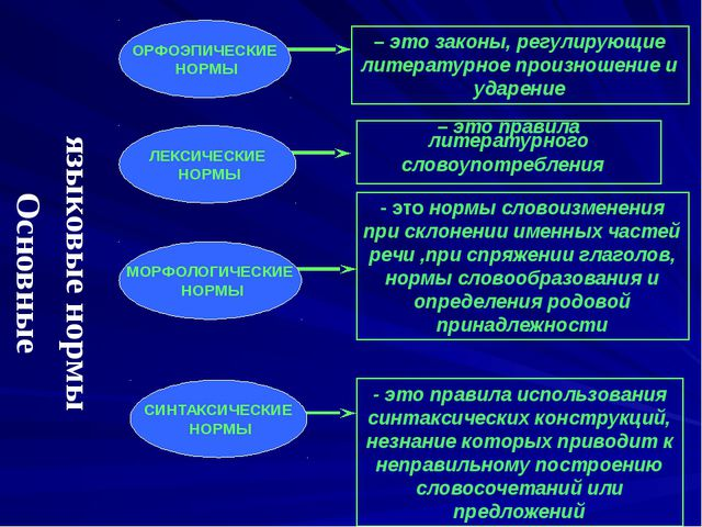 Основные языковые нормы – это законы, регулирующие литературное произношение...