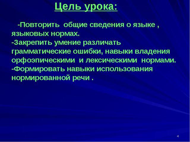 Цель урока: -Повторить общие сведения о языке , языковых нормах. -Закрепить...