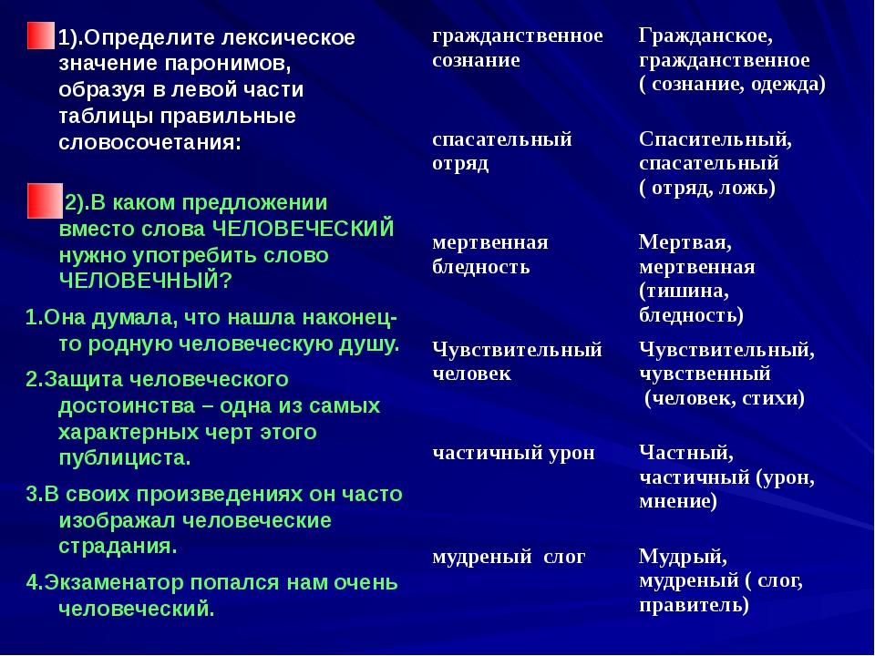 1).Определите лексическое значение паронимов, образуя в левой части таблицы п...