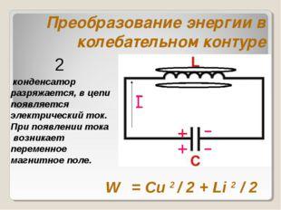 Преобразование энергии в колебательном контуре конденсатор разряжается, в цеп