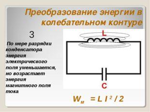 Преобразование энергии в колебательном контуре По мере разрядки конденсатора