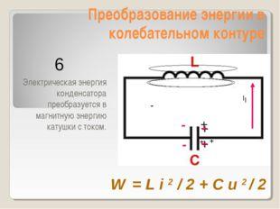 Преобразование энергии в колебательном контуре Электрическая энергия конденса