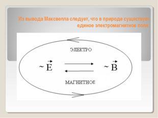 Из вывода Максвелла следует, что в природе существует единое электромагнитное