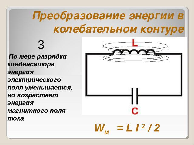 Преобразование энергии в колебательном контуре По мере разрядки конденсатора...