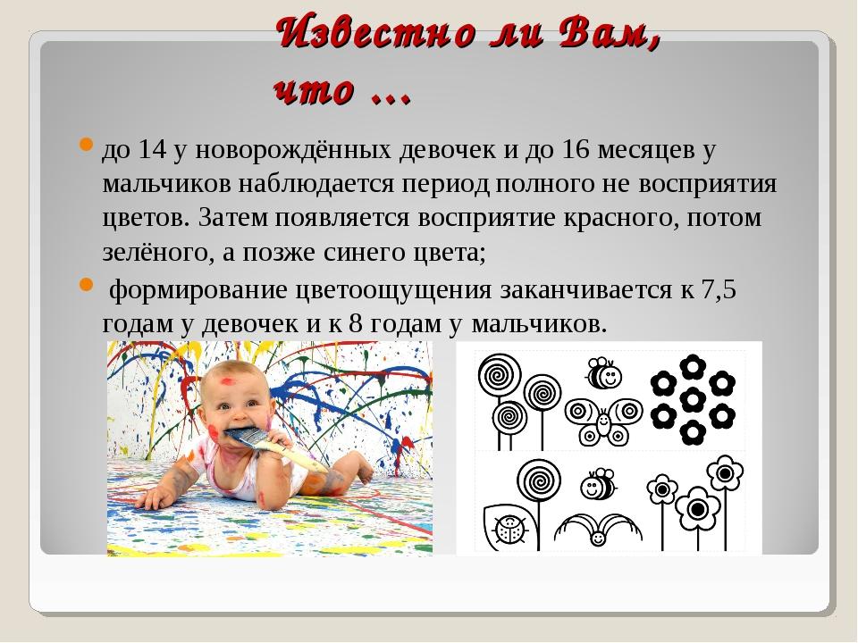 Известно ли Вам, что ... до 14 у новорождённых девочек и до 16 месяцев у маль...
