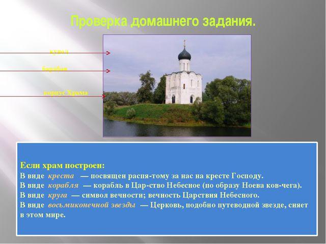 Проверка домашнего задания.    купол   барабан    корпус Храма   ...