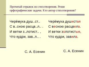 Прочитай отрывок из стихотворения. Реши орфографические задачи. Кто автор сти