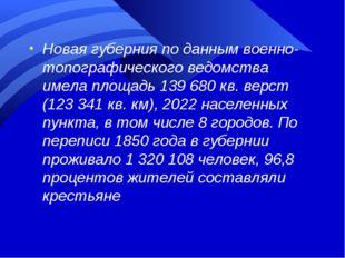 Новая губерния по данным военно-топографического ведомства имела площадь 139