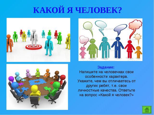 КАКОЙ Я ЧЕЛОВЕК? Задание: Напишите на человечках свои особенности характера....