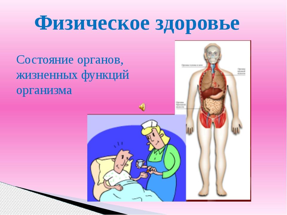 Физическое здоровье Состояние органов, жизненных функций организма