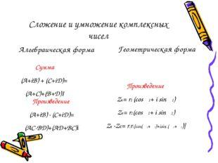 Сложение и умножение комплексных чисел Алгебраическая форма Геометрическая фо