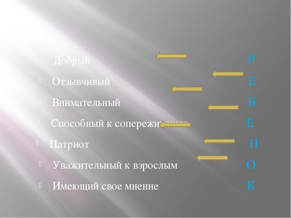 Добрый Р Отзывчивый Е Внимательный Б Способный к сопереживанию Е Патриот Н У...