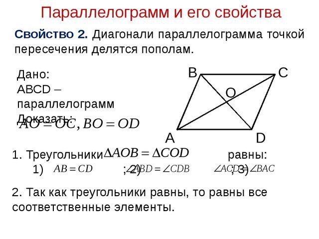 Параллелограмм и его свойства Свойство 2. Диагонали параллелограмма точкой пе...