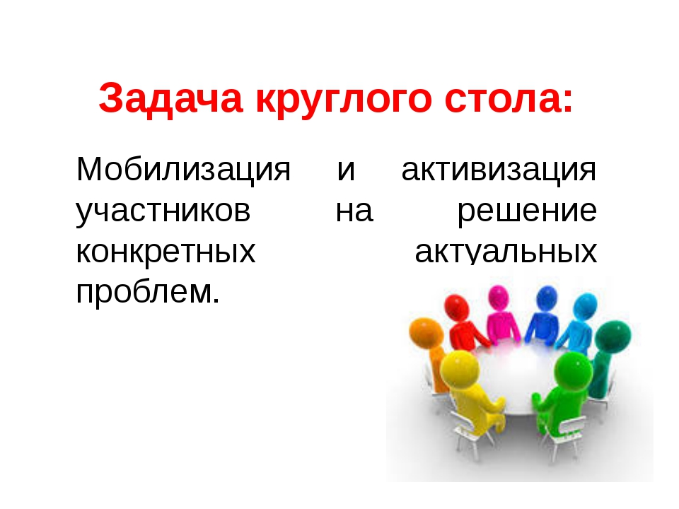 Задача круглого стола: Мобилизация и активизация участников на решение конкре...