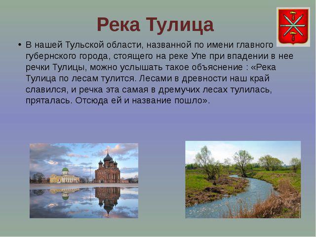 Река Тулица В нашей Тульской области, названной по имени главного губернского...